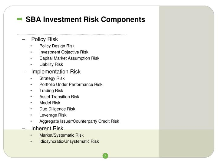 SBA Investment Risk Components