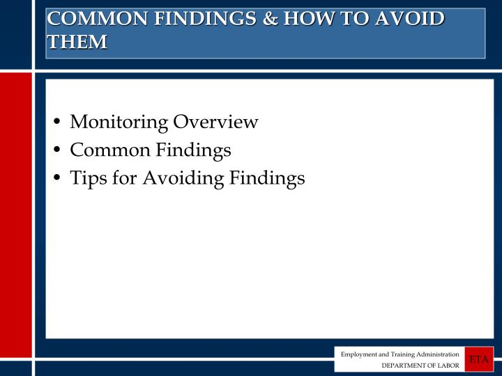 Common findings how to avoid them