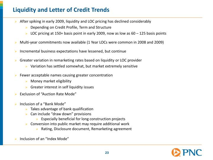Liquidity and Letter of Credit Trends