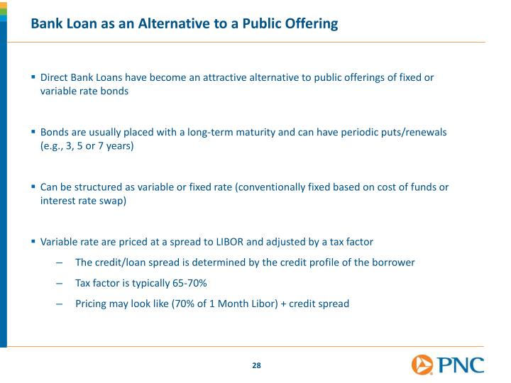 Bank Loan as an Alternative to a Public Offering
