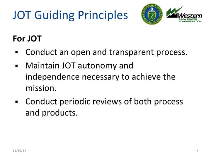 JOT Guiding Principles
