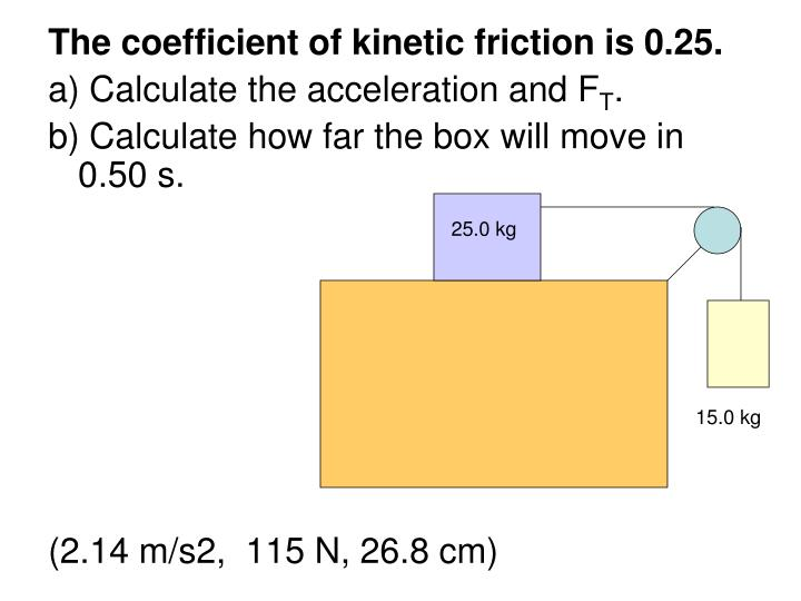 The coefficient of kinetic friction is 0.25.
