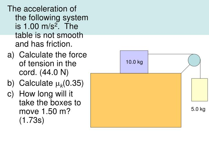 The acceleration of the following system is 1.00 m/s