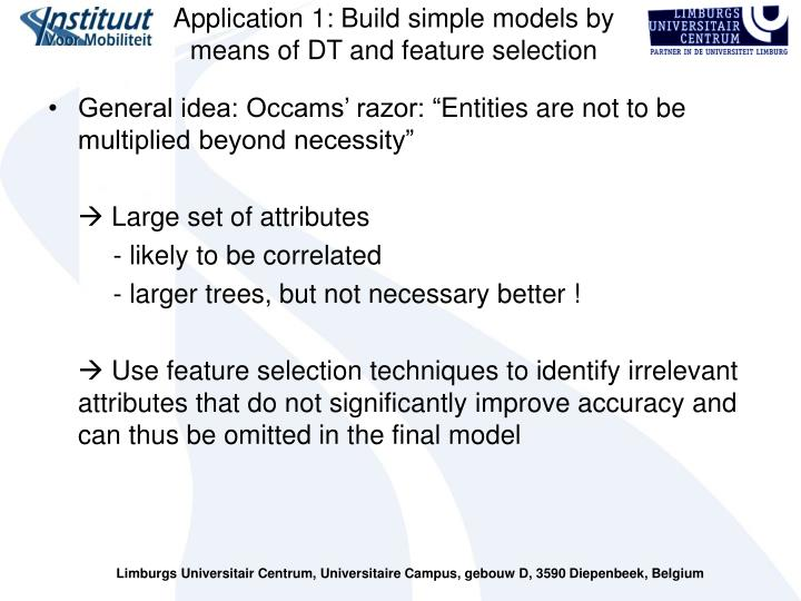 Application 1: Build simple models by means of DT and feature selection
