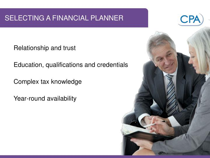 SELECTING A FINANCIAL PLANNER