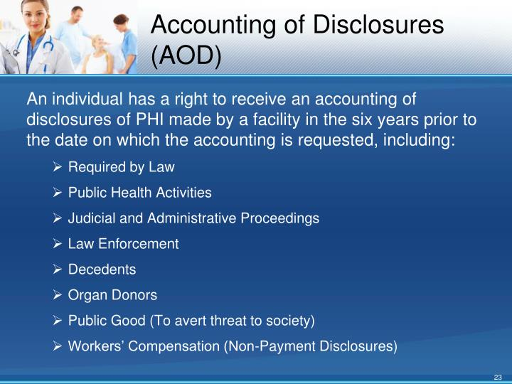Accounting of Disclosures (AOD)