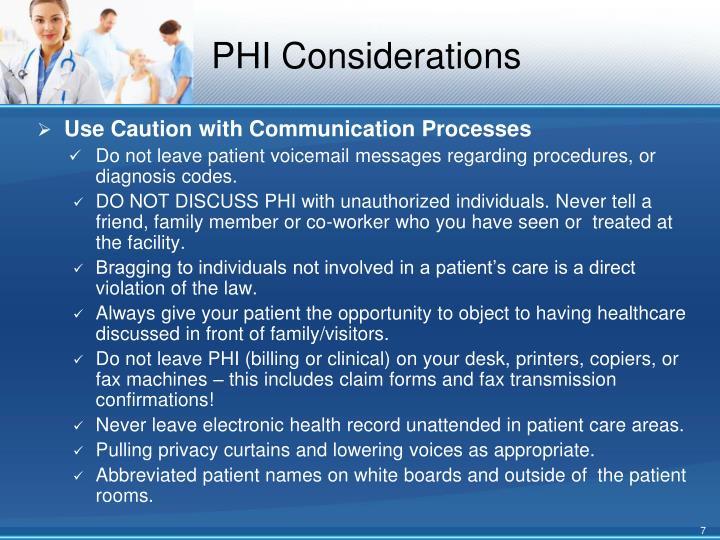 PHI Considerations