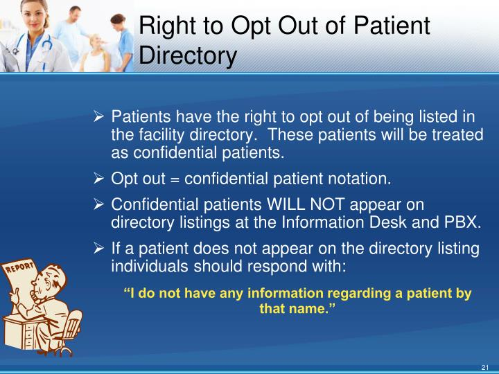 Right to Opt Out of Patient Directory