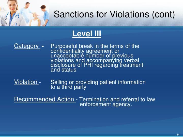 Sanctions for Violations (cont)