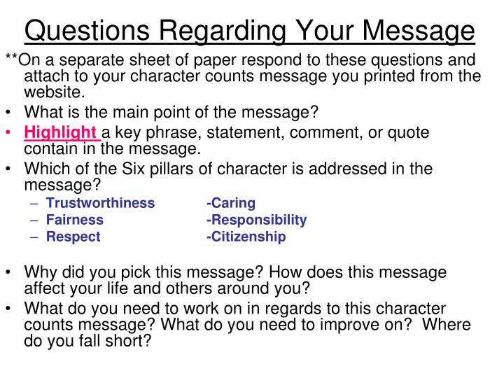 Questions regarding your message