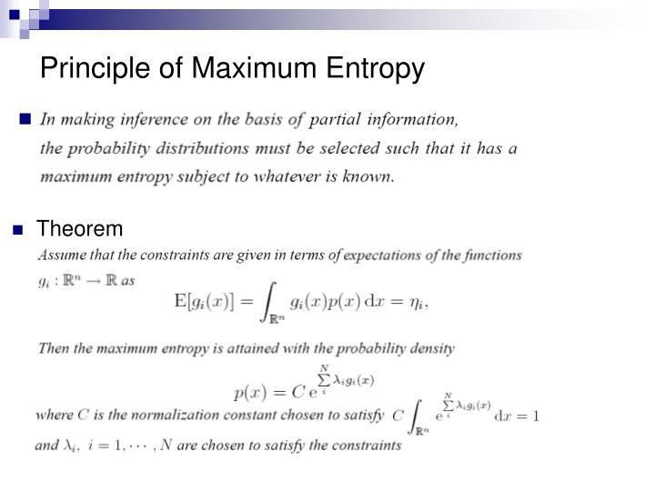 Principle of Maximum Entropy