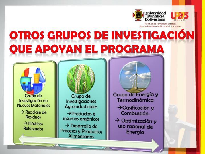 Otros Grupos de Investigación que apoyan el programa
