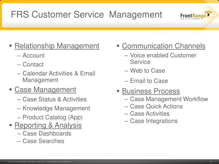 FRS Customer Service  Management