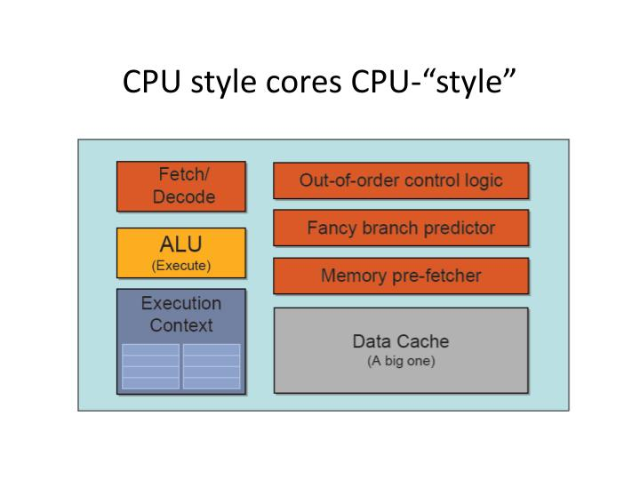"""CPU style cores CPU-""""style"""""""