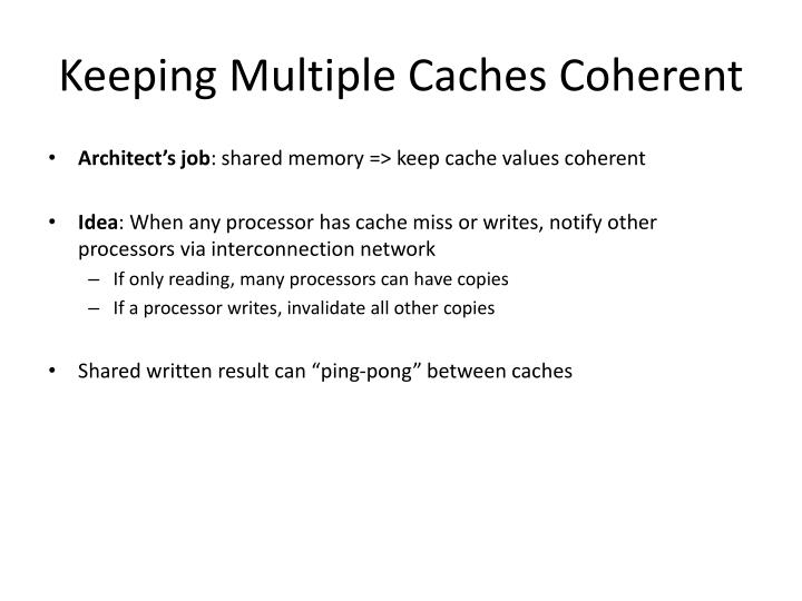 Keeping Multiple Caches Coherent
