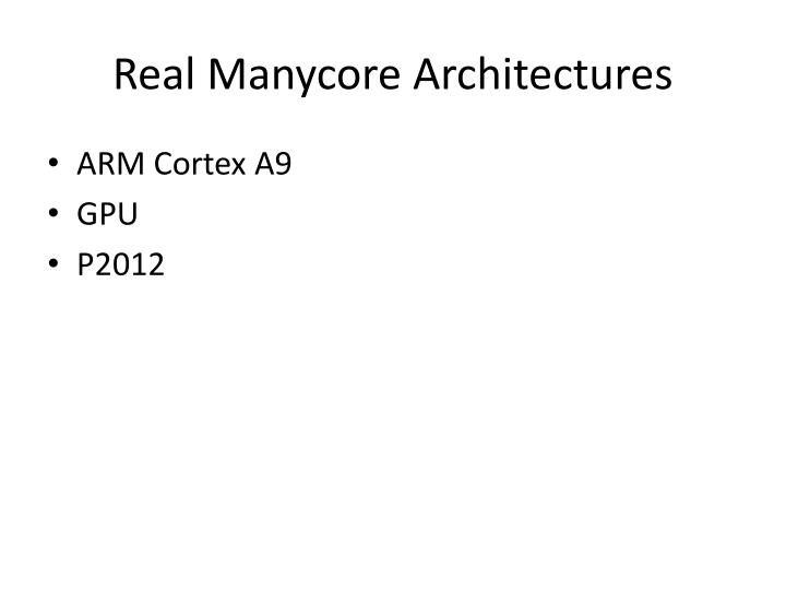 Real Manycore Architectures