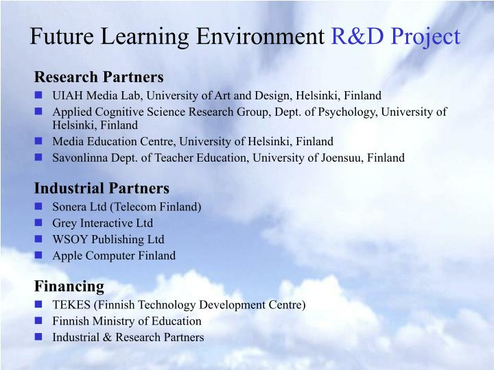 Future learning environment r d project