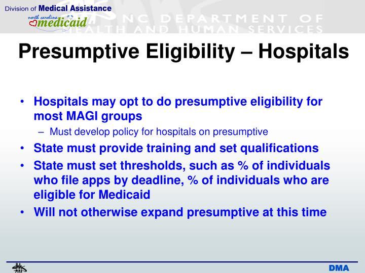 Presumptive Eligibility – Hospitals