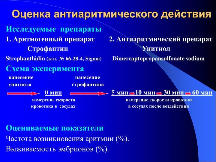 Оценка антиаритмического действия