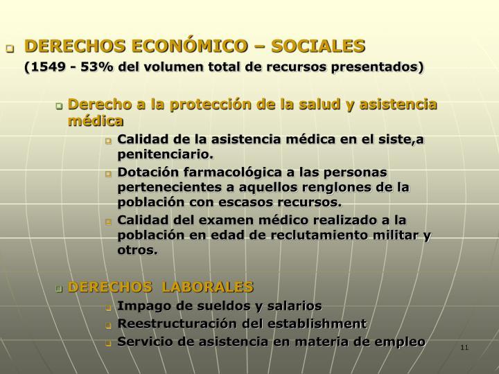 DERECHOS ECONÓMICO – SOCIALES