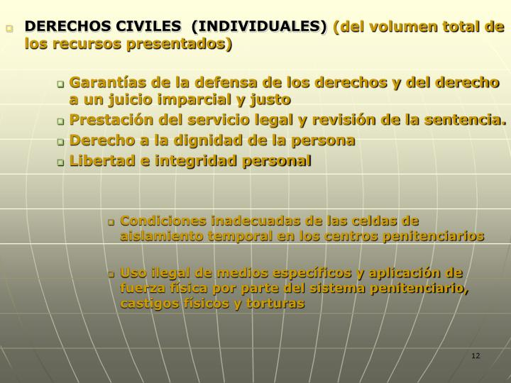 DERECHOS CIVILES  (INDIVIDUALES)