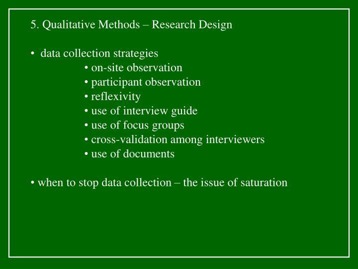 5. Qualitative Methods – Research Design