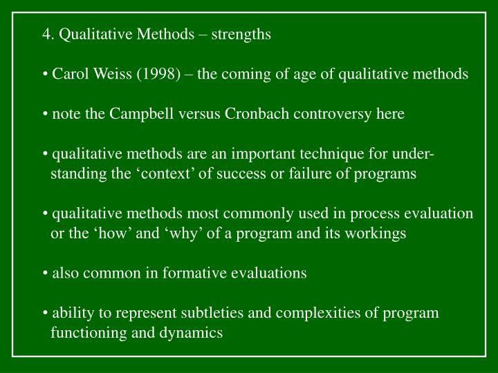 4. Qualitative Methods – strengths