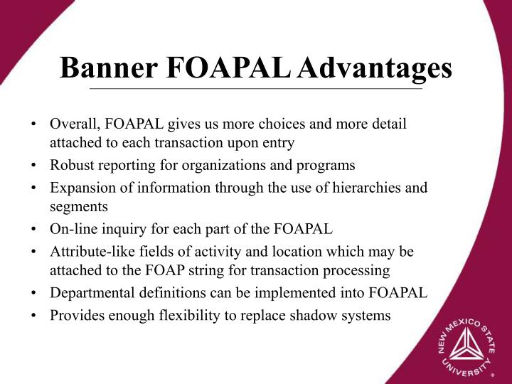 Banner FOAPAL Advantages