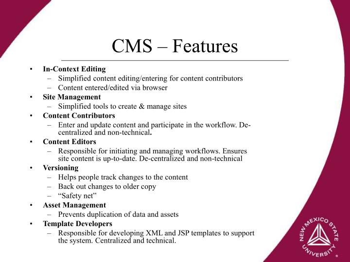 CMS – Features