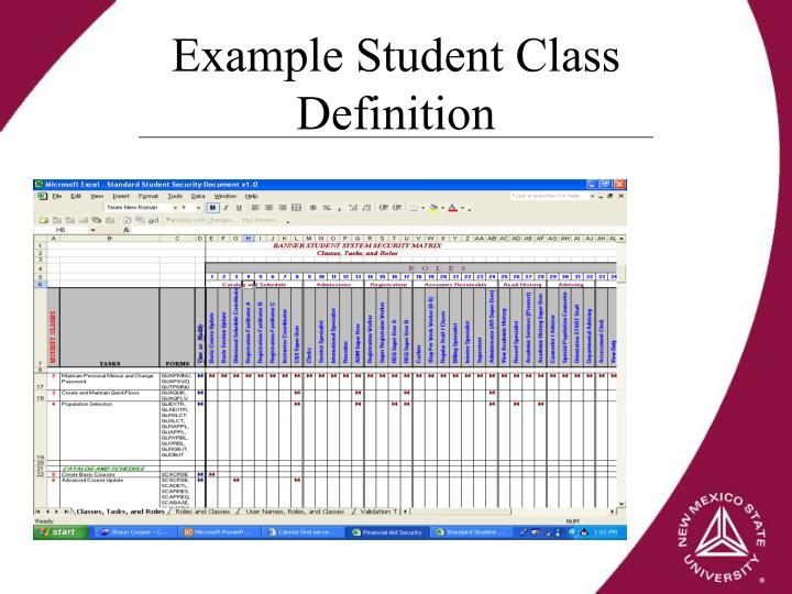 Example Student Class Definition