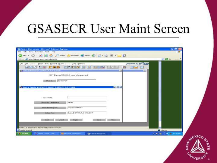 GSASECR User Maint Screen