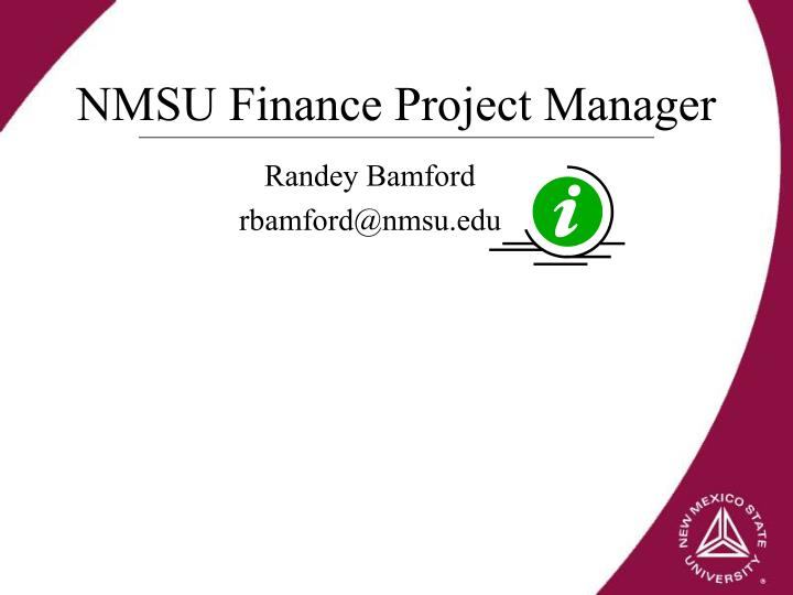 NMSU Finance Project Manager