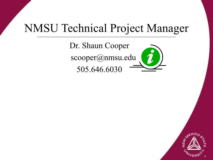 NMSU Technical Project Manager