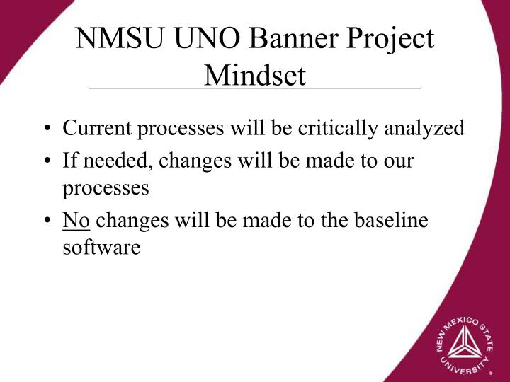 NMSU UNO Banner Project Mindset