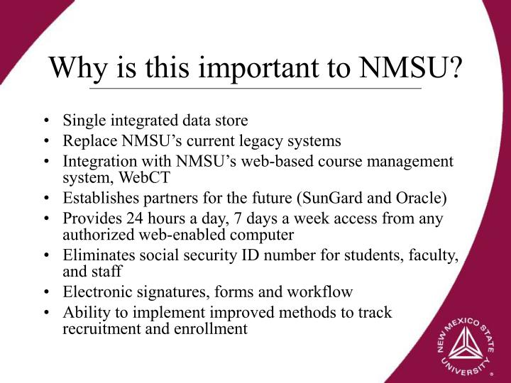 Why is this important to NMSU?