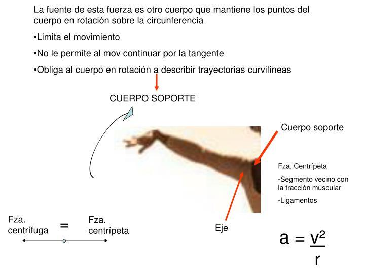 La fuente de esta fuerza es otro cuerpo que mantiene los puntos del cuerpo en rotación sobre la circunferencia