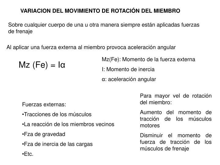 VARIACION DEL MOVIMIENTO DE ROTACIÓN DEL MIEMBRO