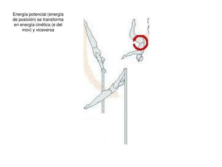 Energía potencial (energía de posición) se transforma en energía cinética (e del mov) y viceversa