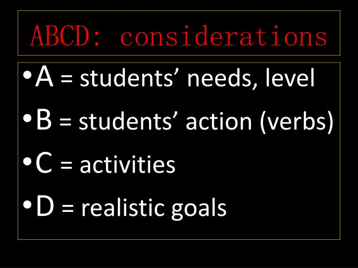 ABCD: considerations