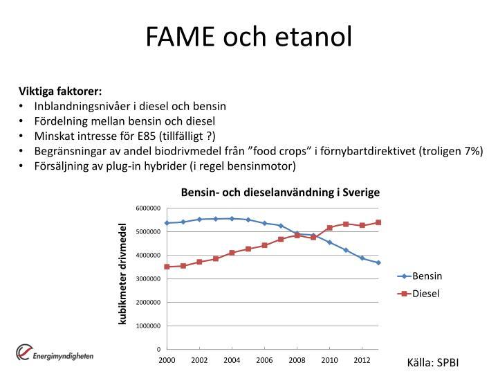 FAME och etanol