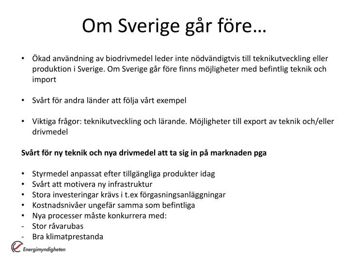 Om Sverige går före…