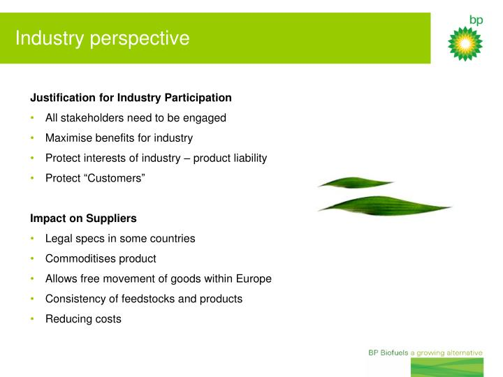 Justification for Industry Participation