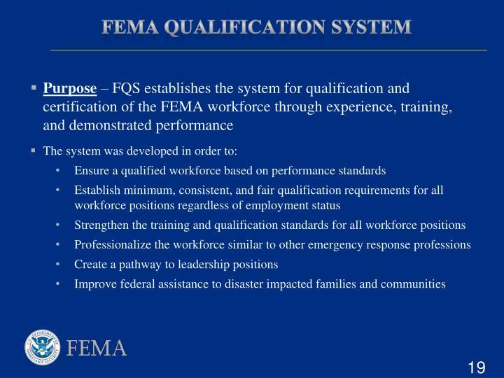 FEMA Qualification System