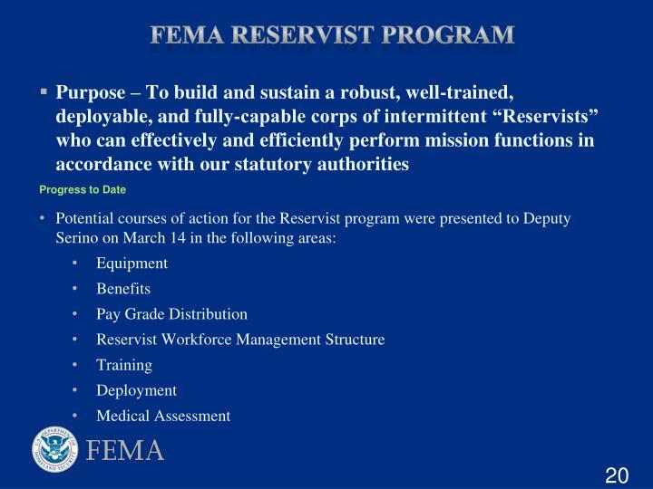 FEMA Reservist Program