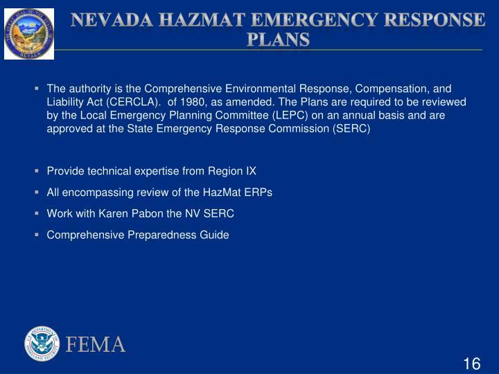 Nevada HAZMAT Emergency Response plans