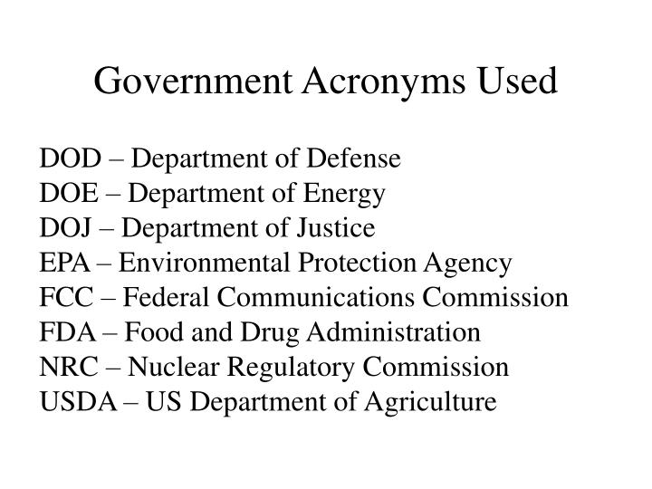 Government Acronyms Used