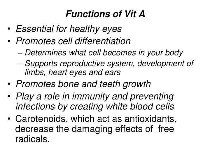 Functions of Vit A