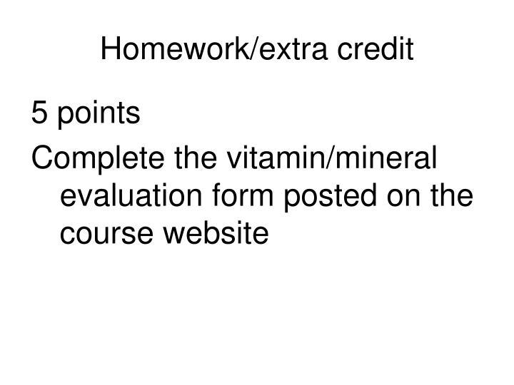 Homework/extra credit