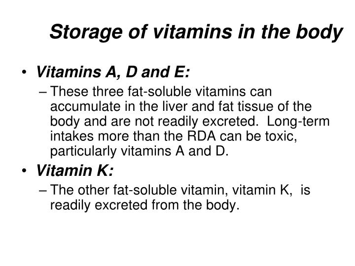 Storage of vitamins in the body