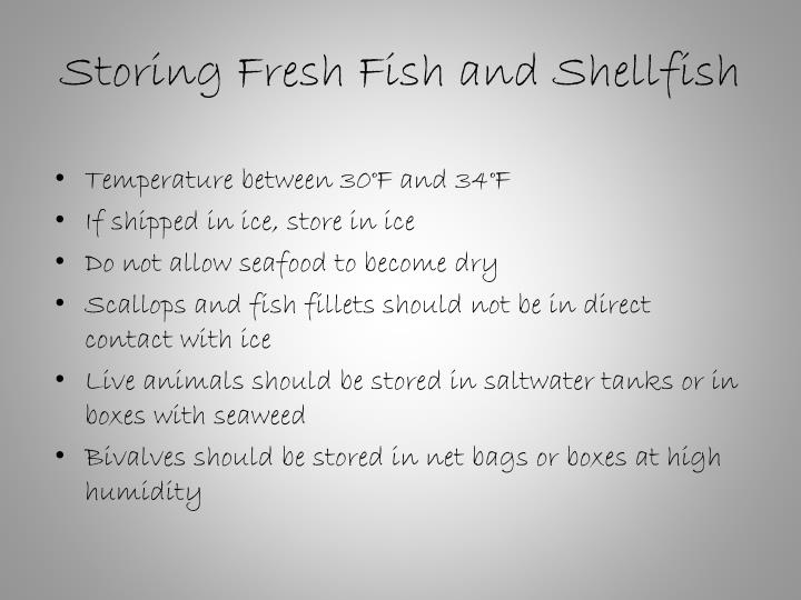 Storing Fresh Fish and Shellfish
